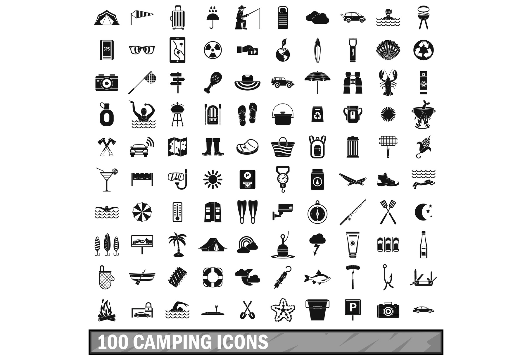 100 camping icons set, simple style example image 1