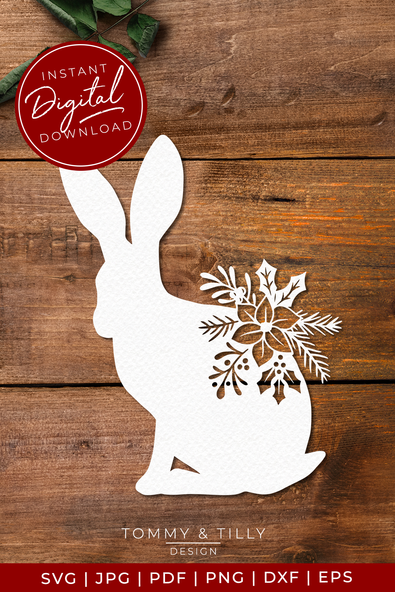 Christmas Hare - SVG EPS DXF PNG PDF JPG example image 4