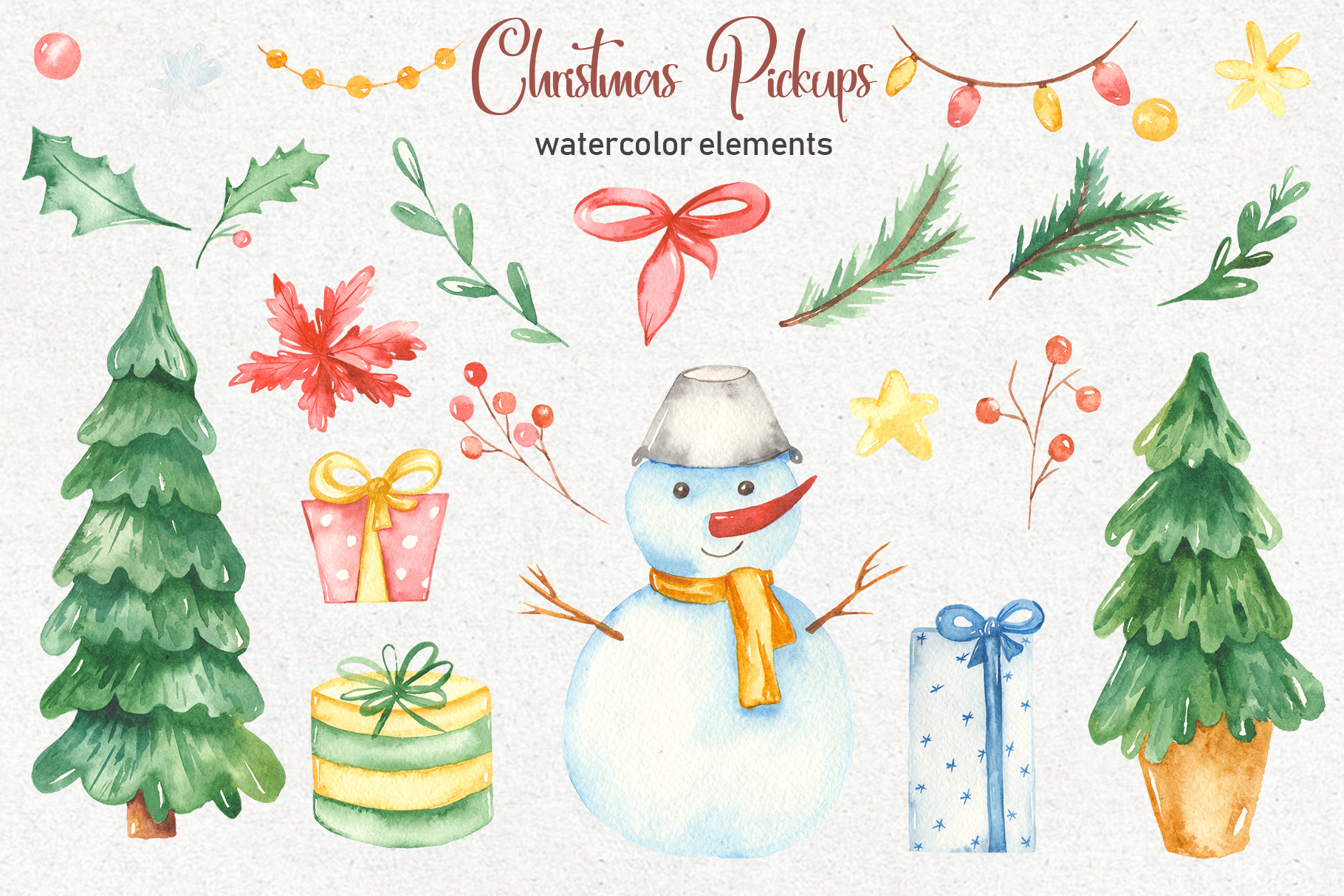 Christmas pickup Watercolor clipart and Christmas elements example image 4