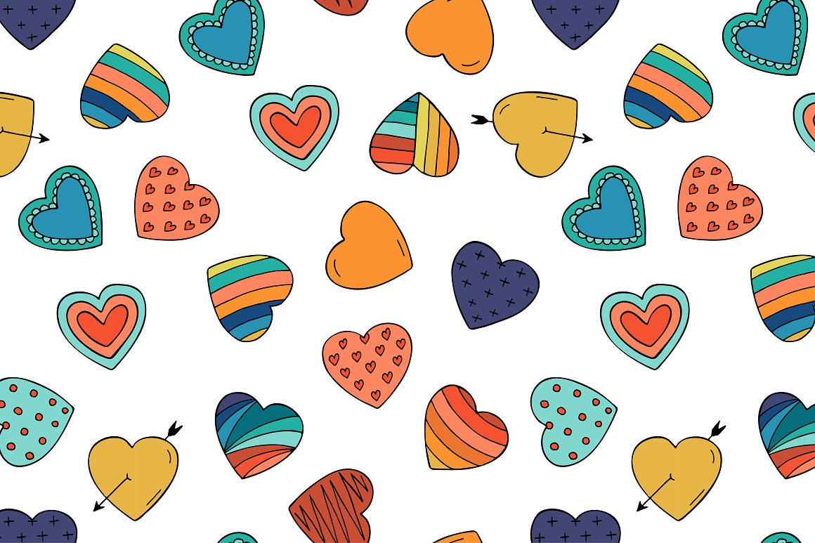 Collection of color hearts + pattern example image 4