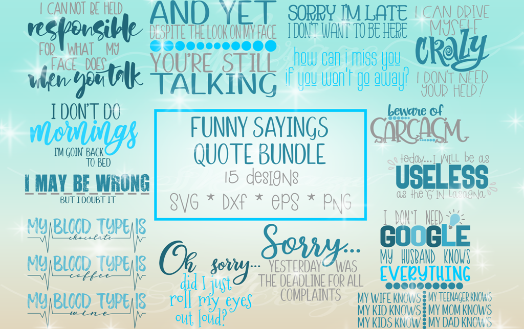 Funny Sayings Quote Bundle SVG Dxf Eps Pdf PNG files for Cri example image 2