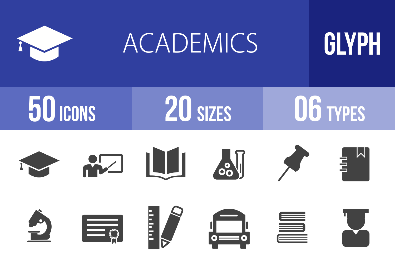 50 Academics Glyph Icons example image 1