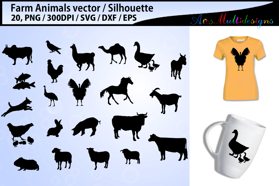 Farm Animals silhouette svg / Animals SVG Cutting Templates example image 1