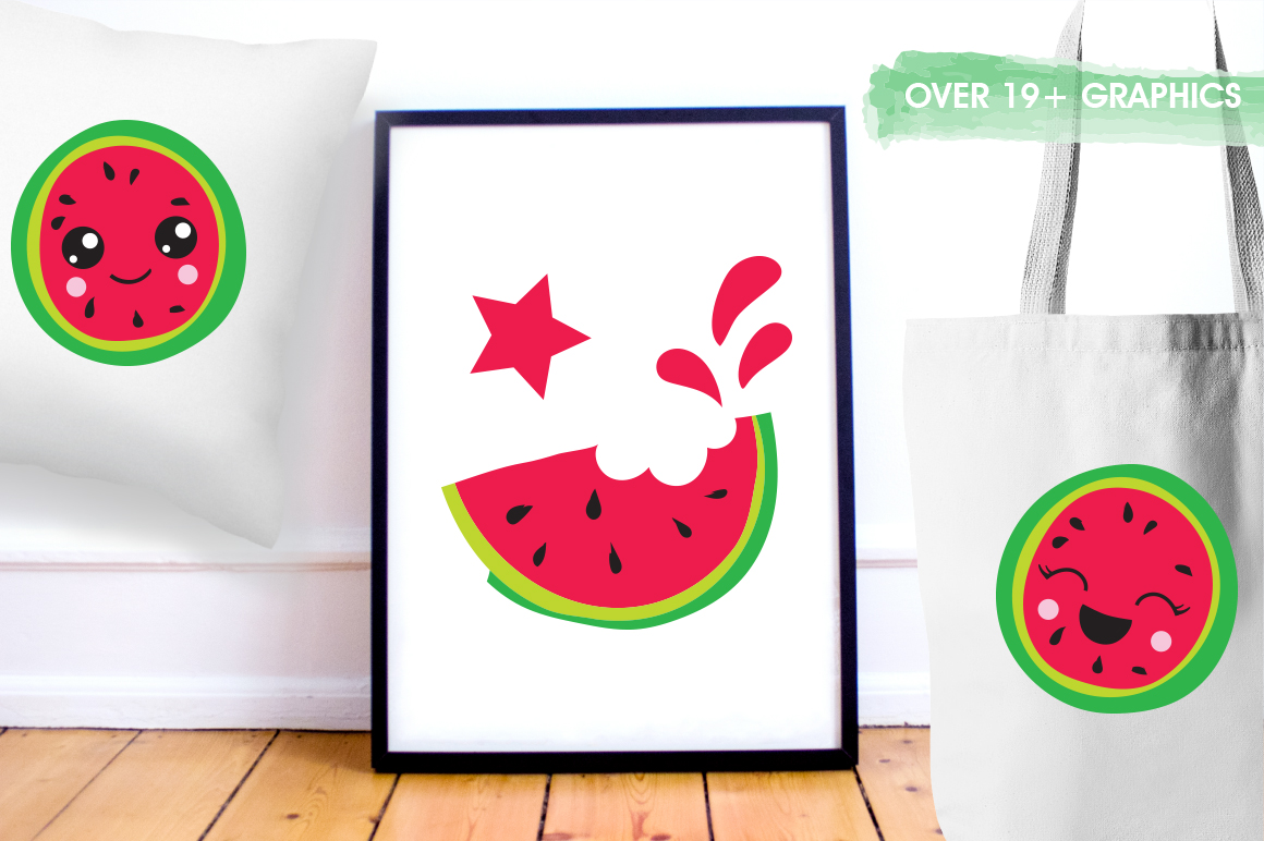 Kawaii Watermelons graphic and illustrations example image 4