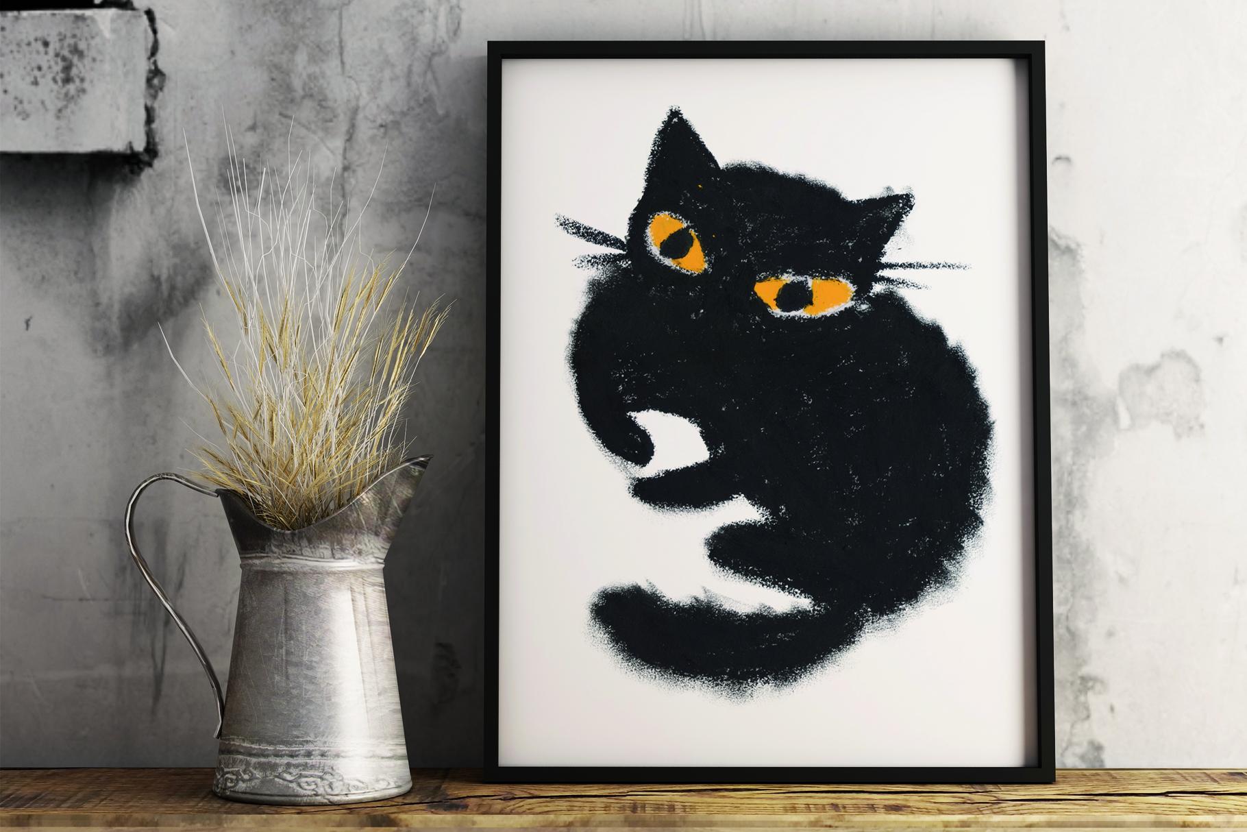 Black cat hand-drawn pastel set example image 2