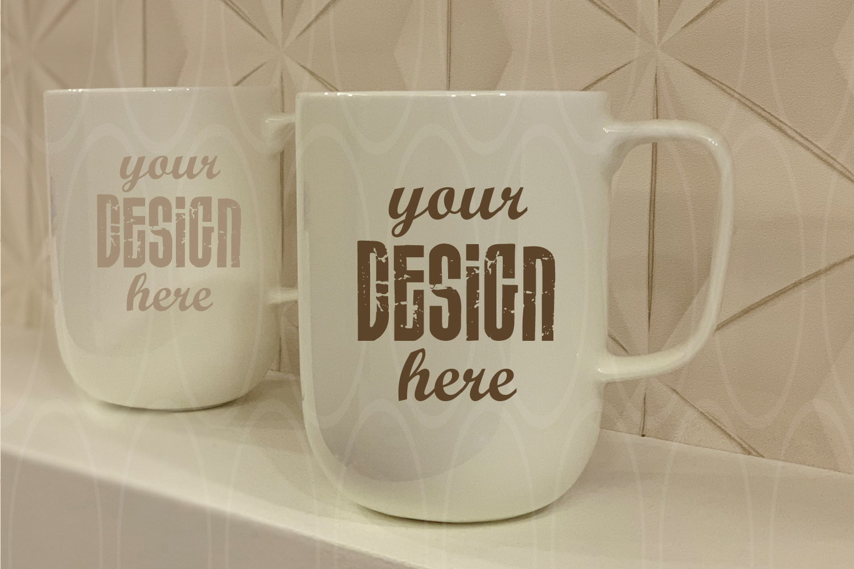 Blank White Coffee Glass White Mugs mock up example image 1