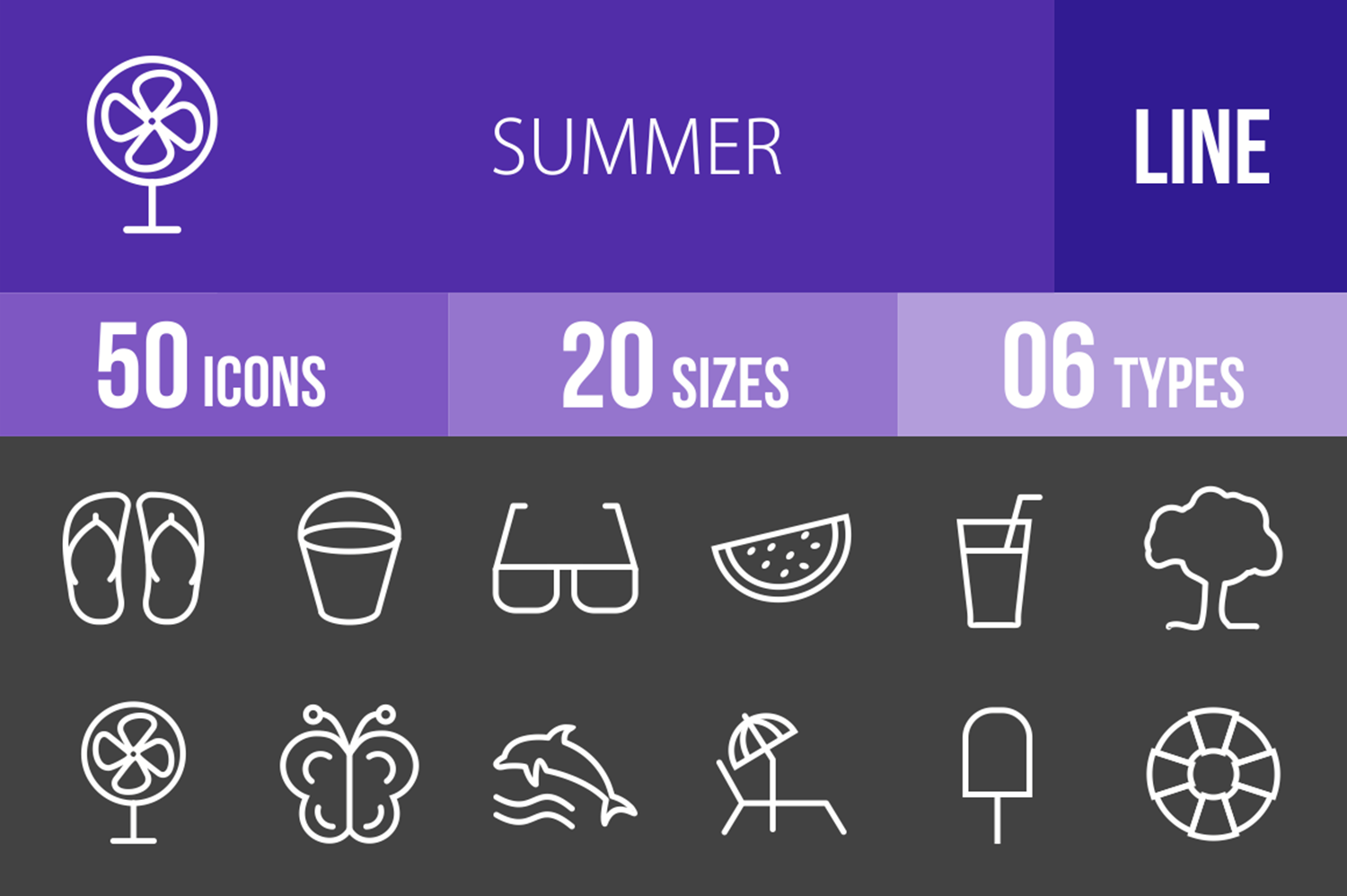50 Summer Line Inverted Icons example image 1