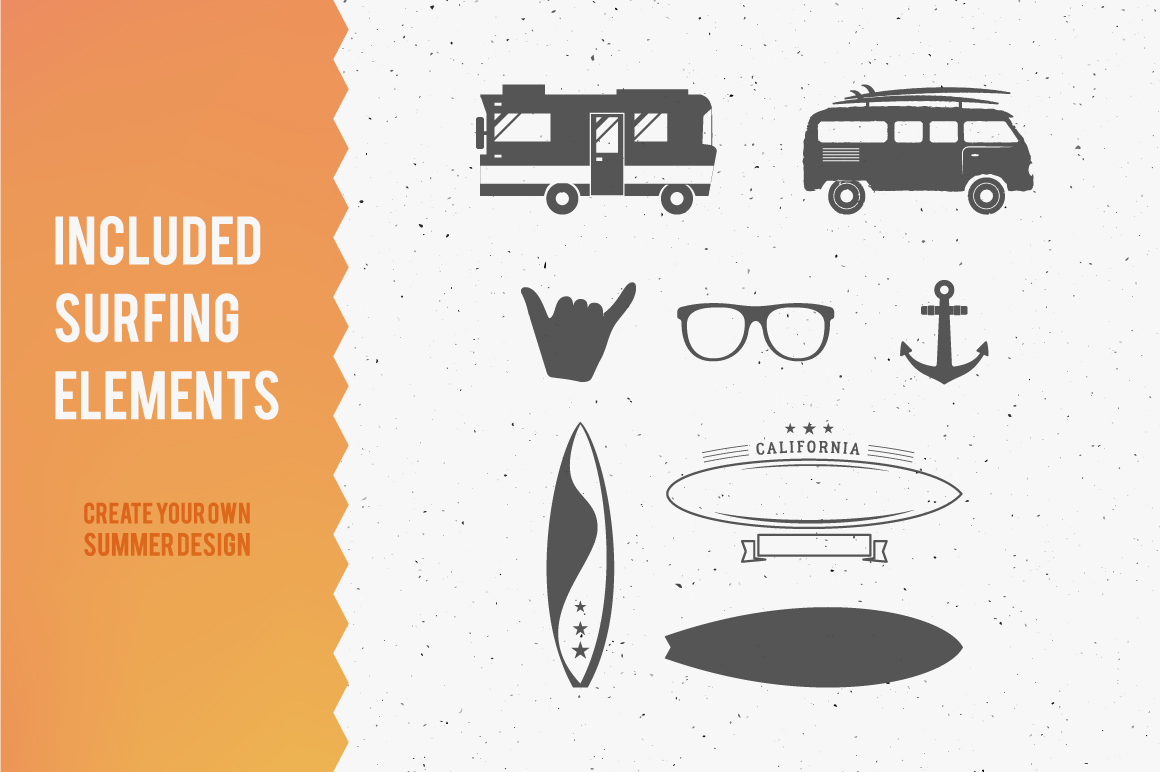 Summer Surfing Badges & Elements example image 2