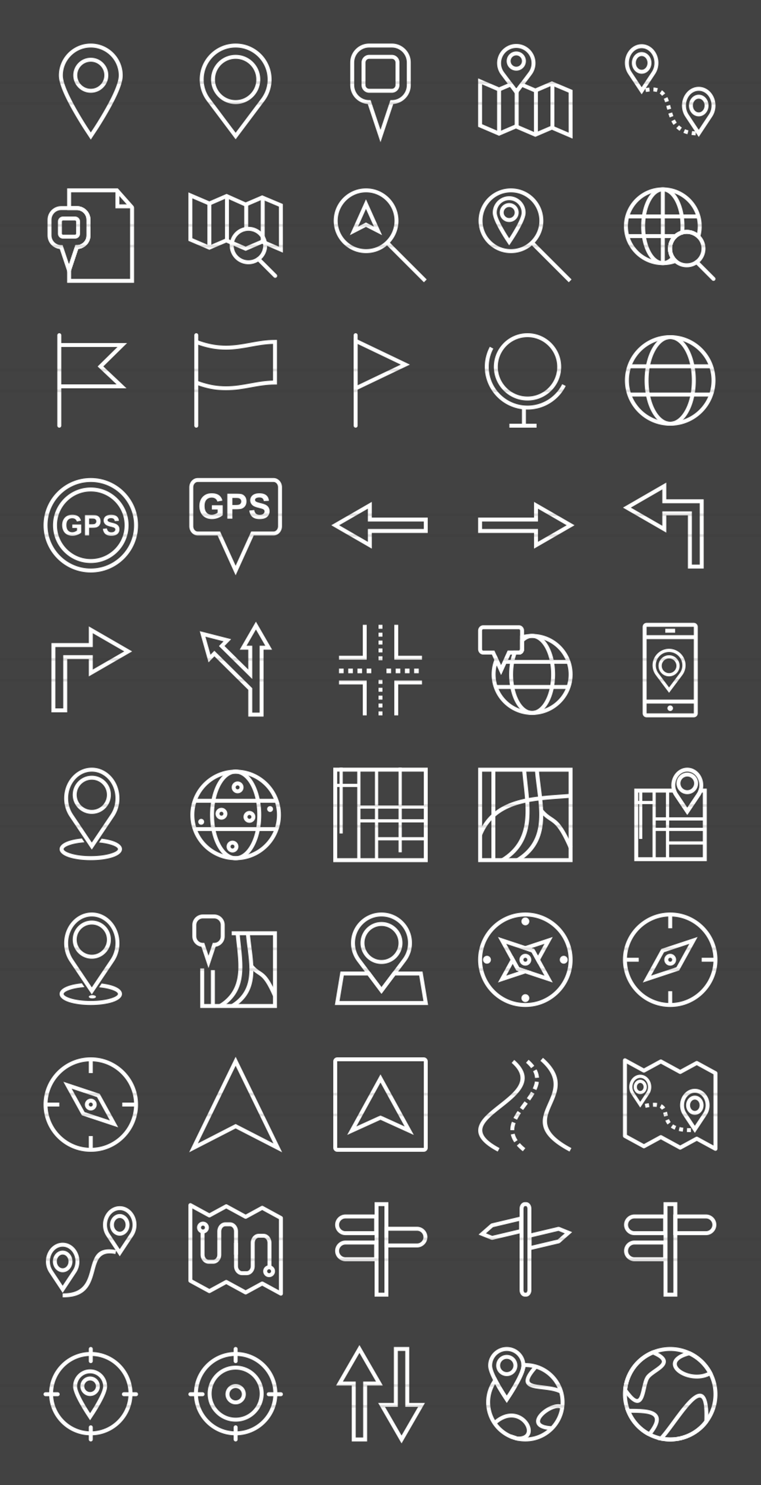 50 Maps & Navigation Line Inverted Icons example image 2