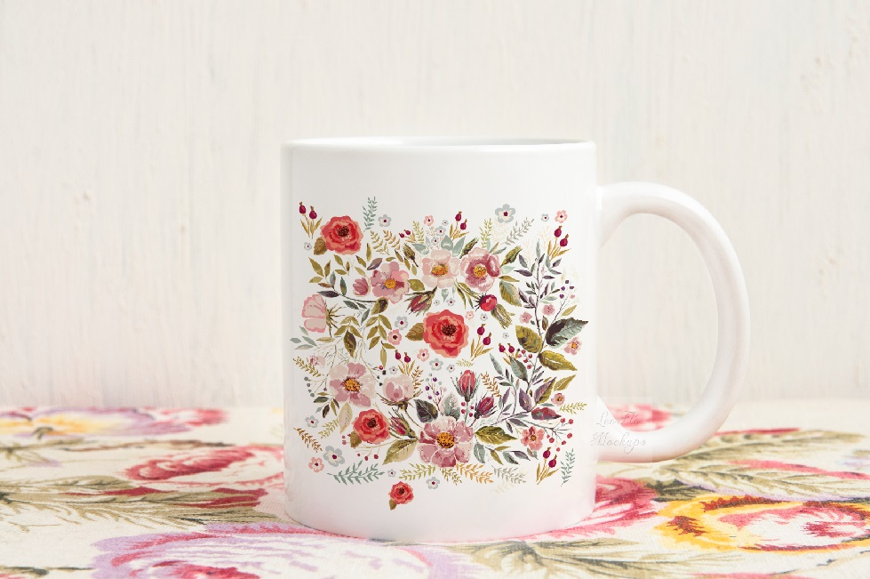 White coffee mug mock up vintage rustic floral example image 3