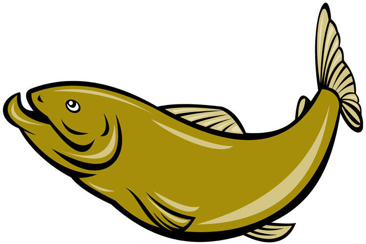 cartoon trout fish jumping side example image 1