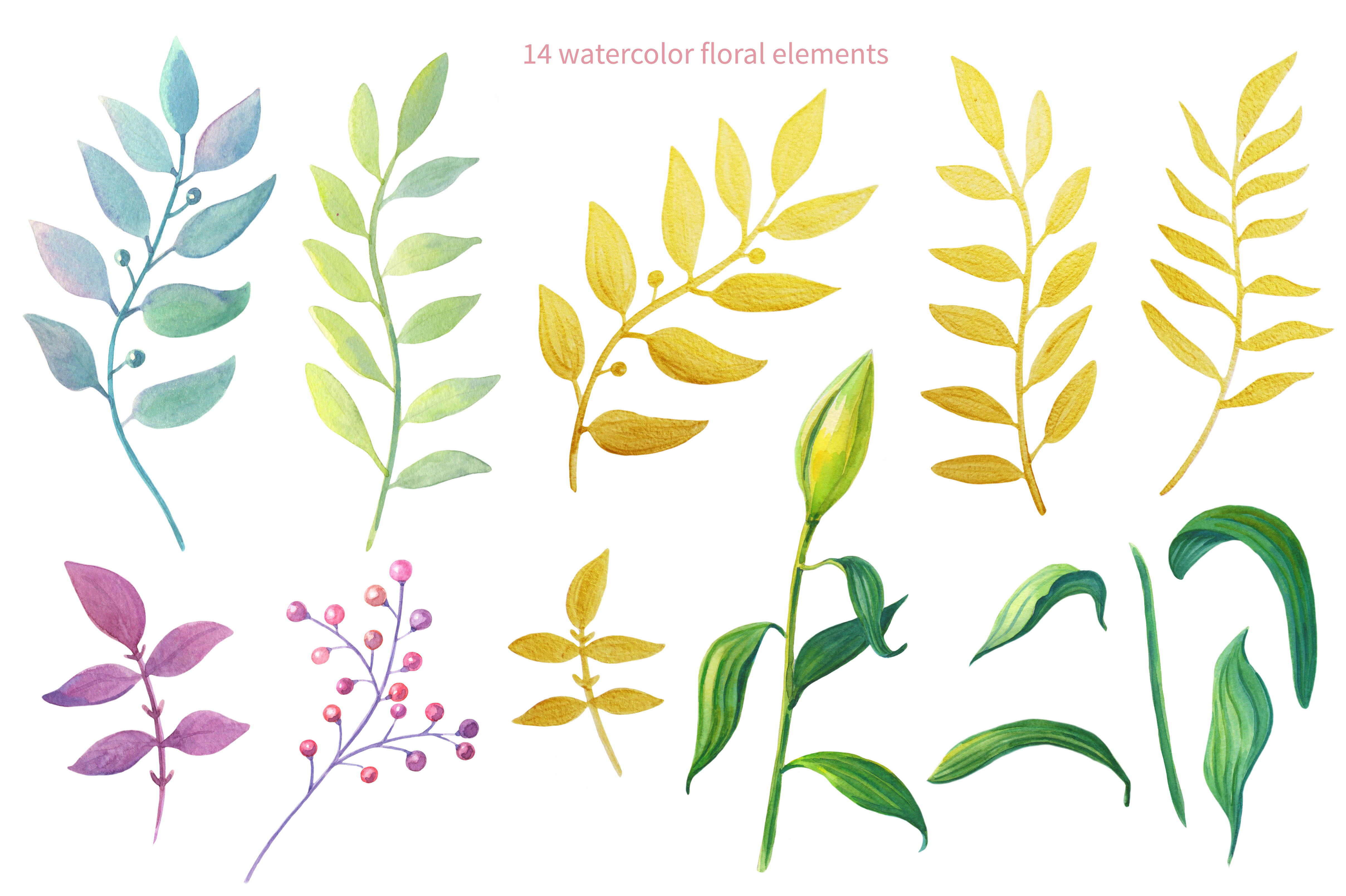 Pink Lilies.Watercolor clipart. example image 2