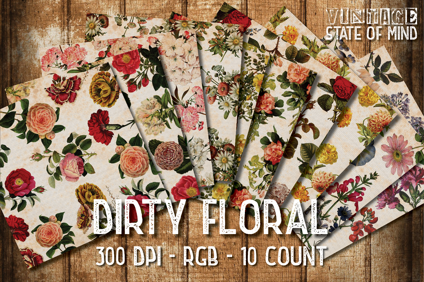 Dirty Floral Digital Papers example image 2