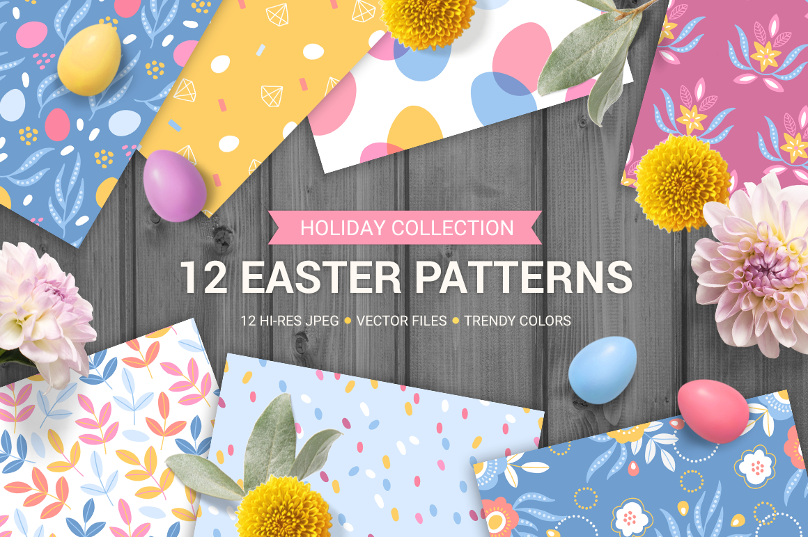 12 Easter Seamless Patterns example image 1
