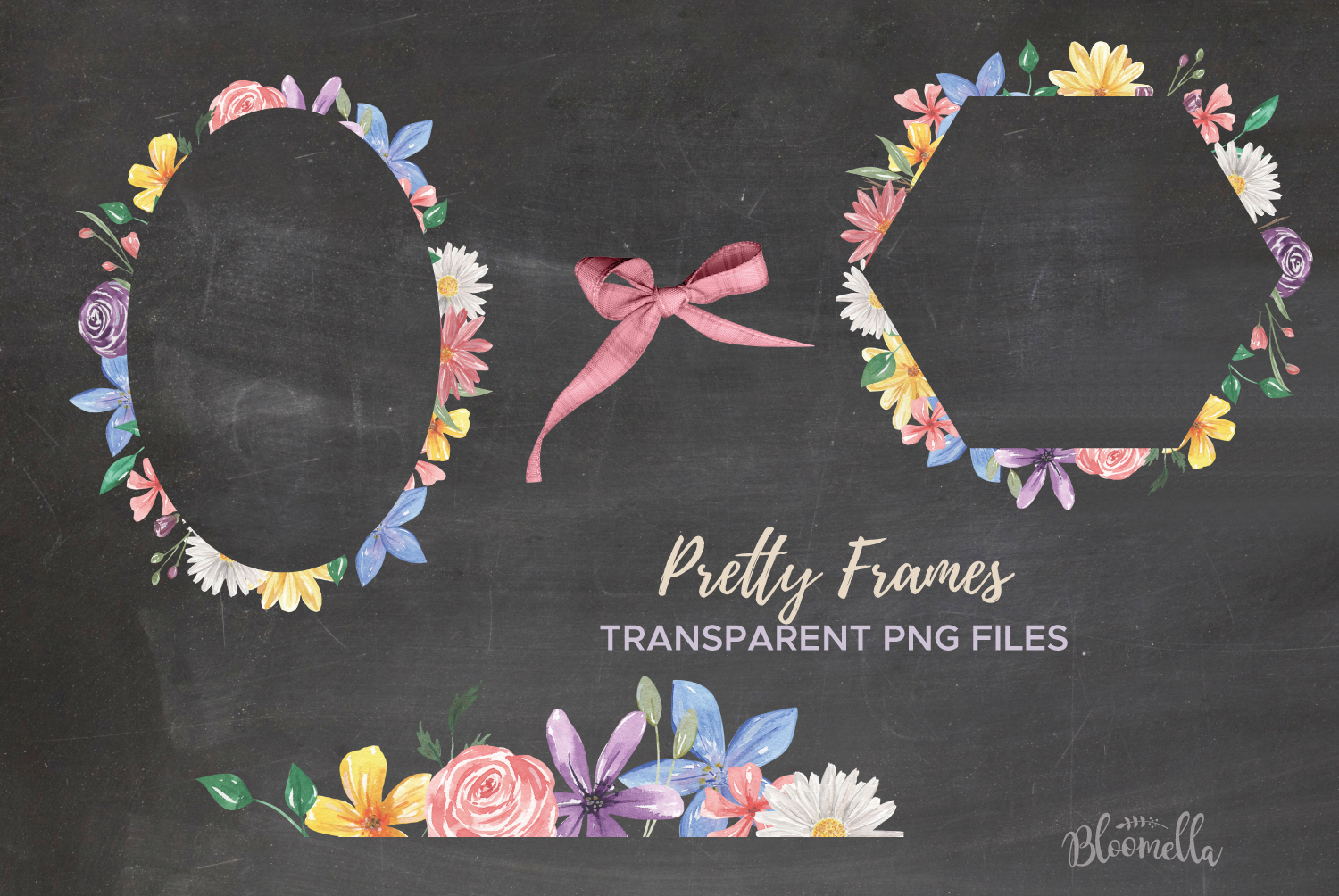 Allura Florals 7 Frames Diasy Flowers Watercolor Blue Pink example image 4