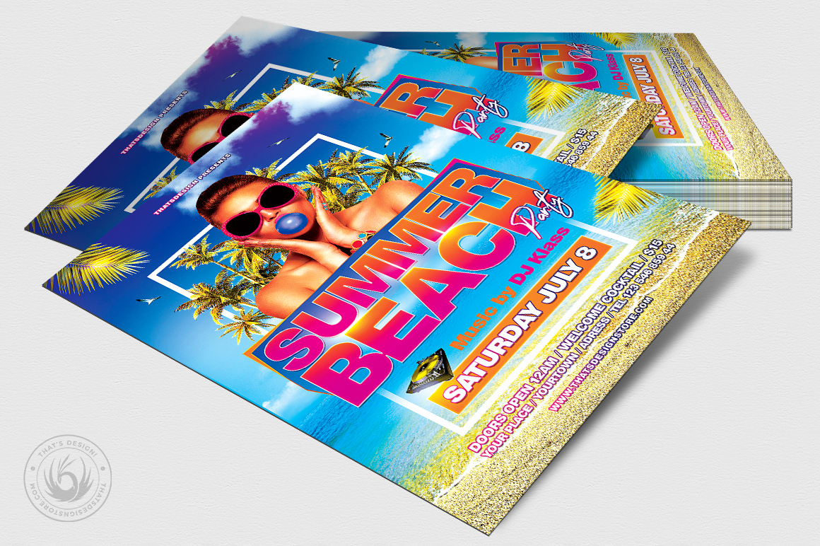 Summer Beach Flyer Template V4 example image 4