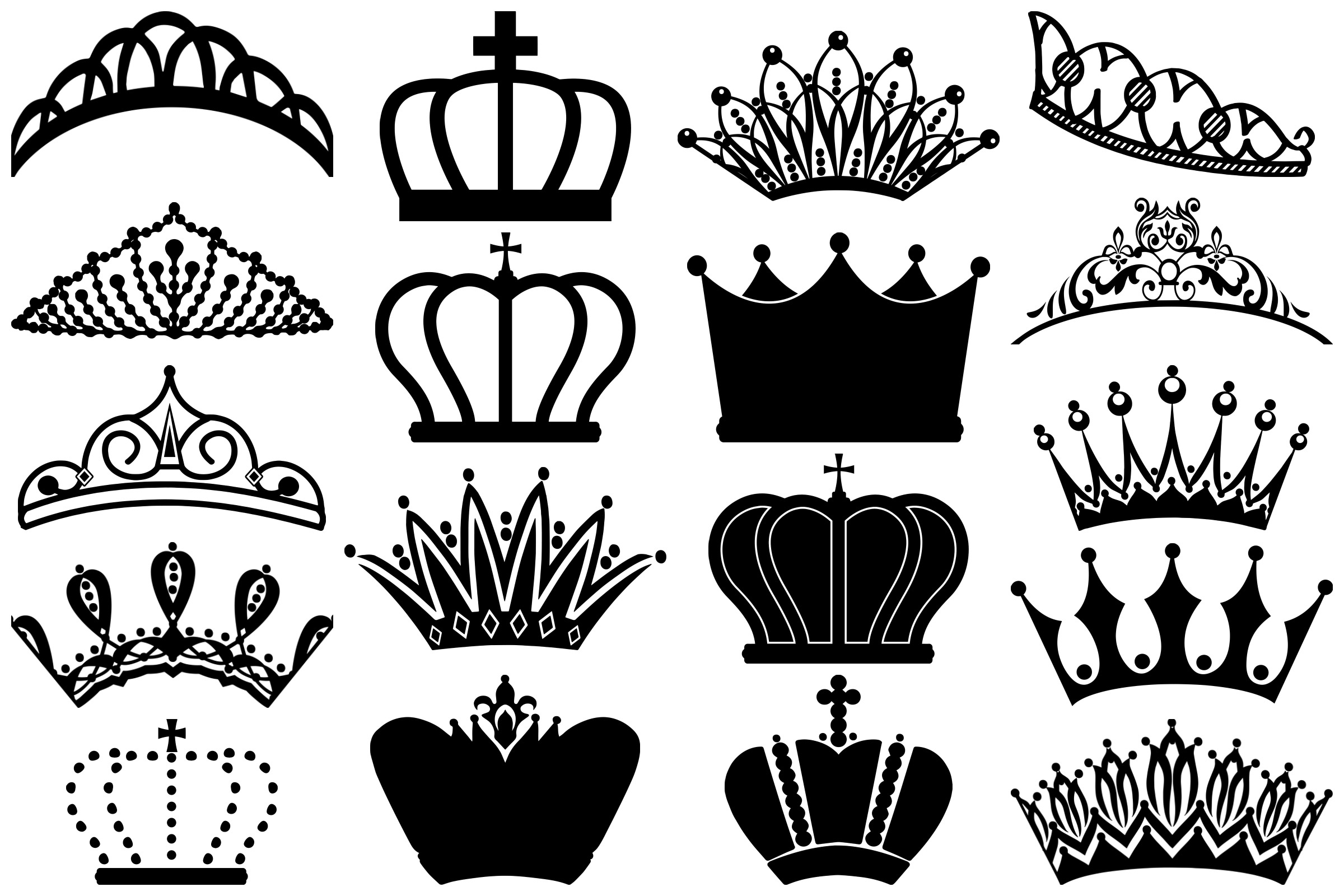 Tiara and Crown Silhouettes AI EPS PNG example image 5