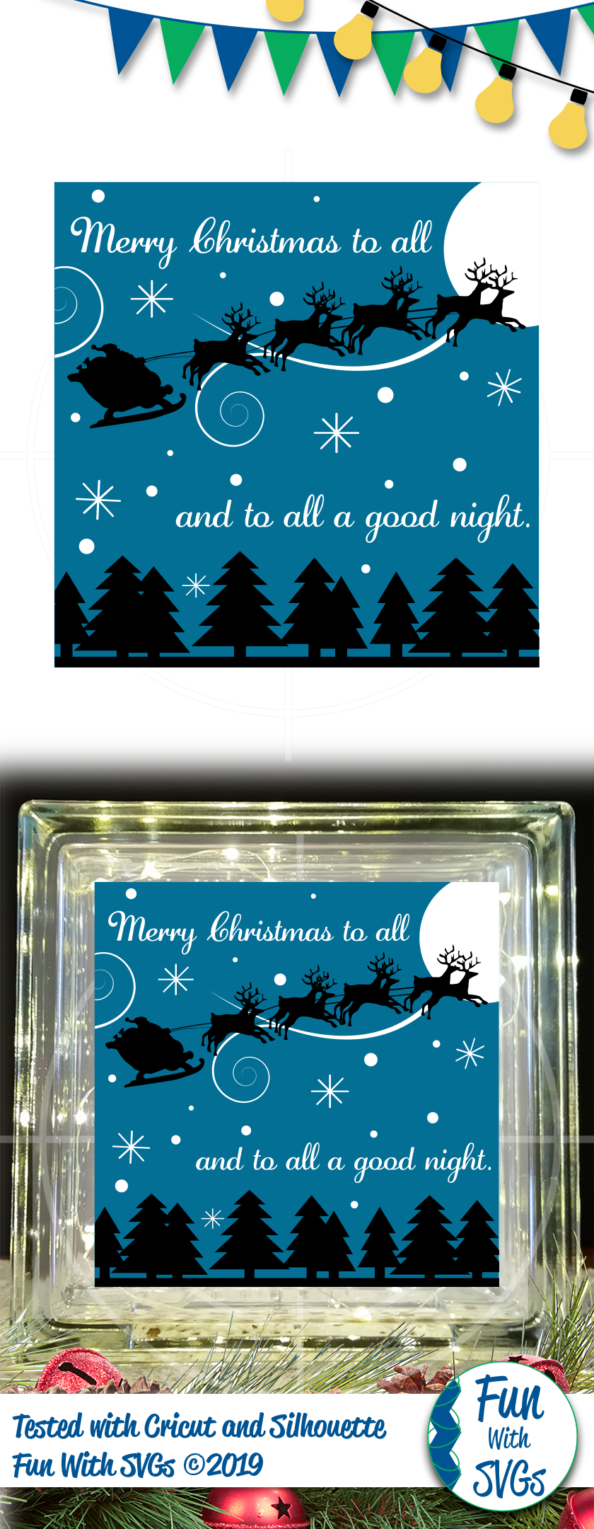SVG Merry Christmas To All Glass Block Cut File, FWS459 example image 2