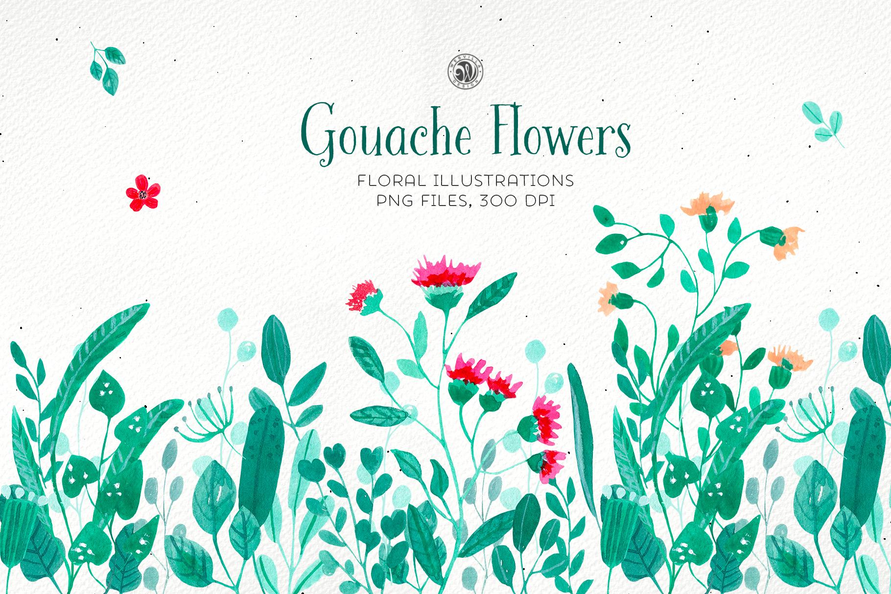 Gouache Flowers example image 1