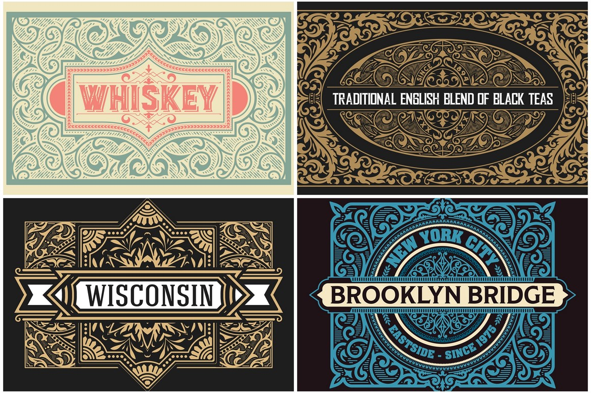 Pack of 4 vintage labels example image 1