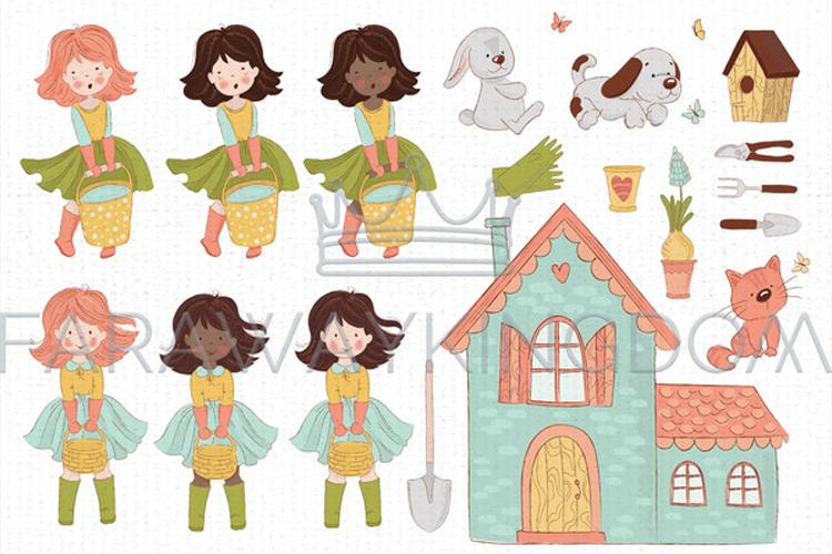 SPRING GARDEN Woman Season Work Vector Illustration Set example image 15