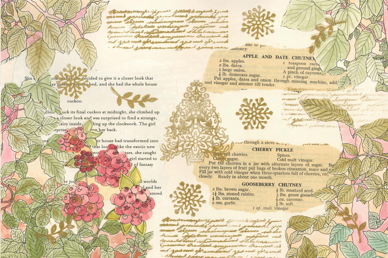 Winter Garden Backgrounds with Free Ephemera. Journaling Kit example image 2