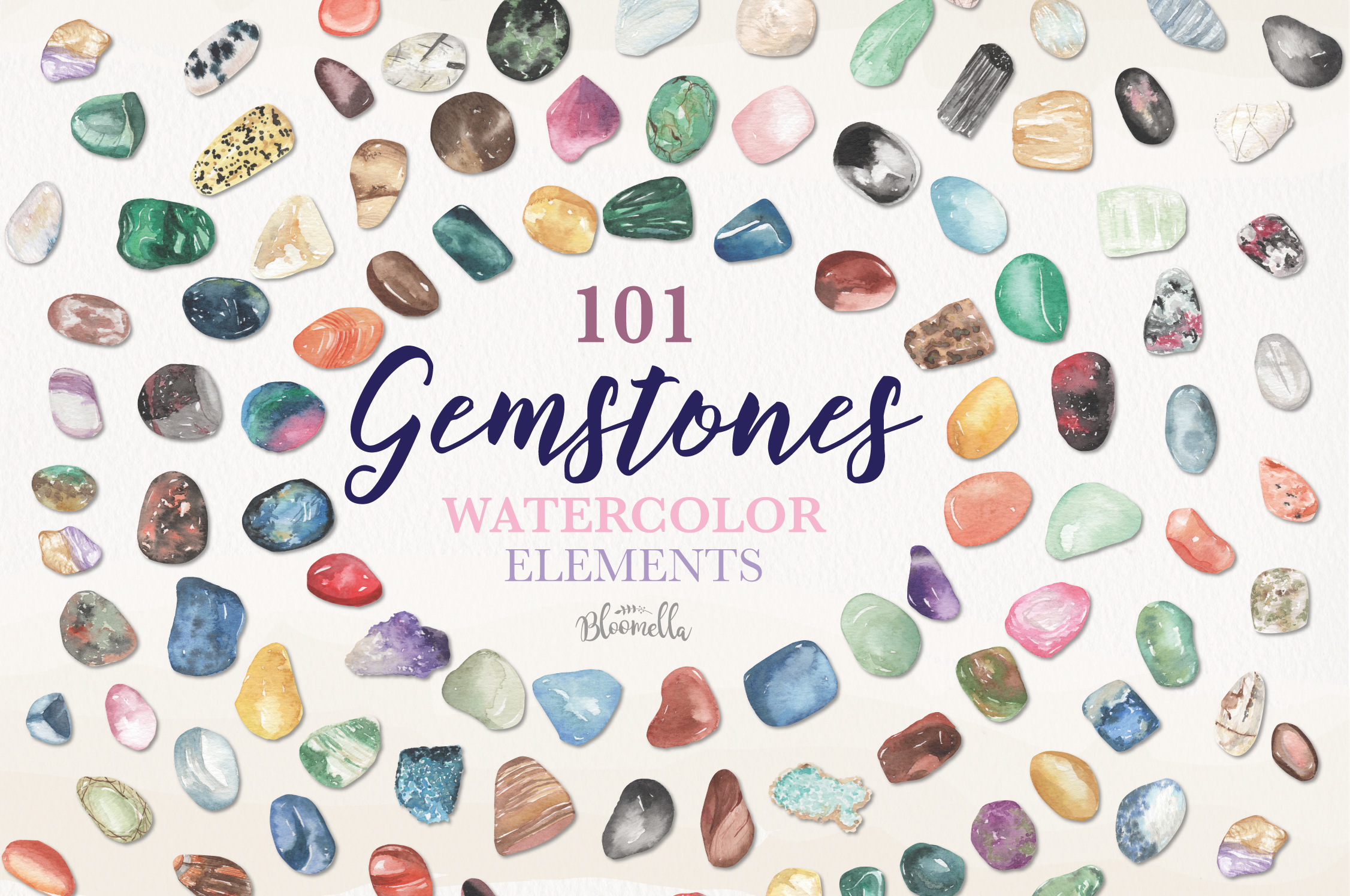 101 Gemstones Collection Watercolor Clipart ElementsCrystals example image 1