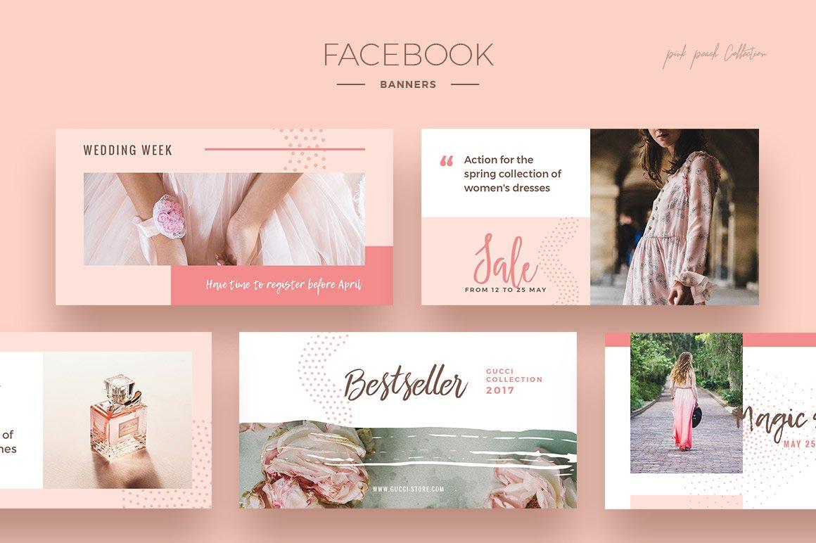 Pink Peach Social Media Designs example image 3