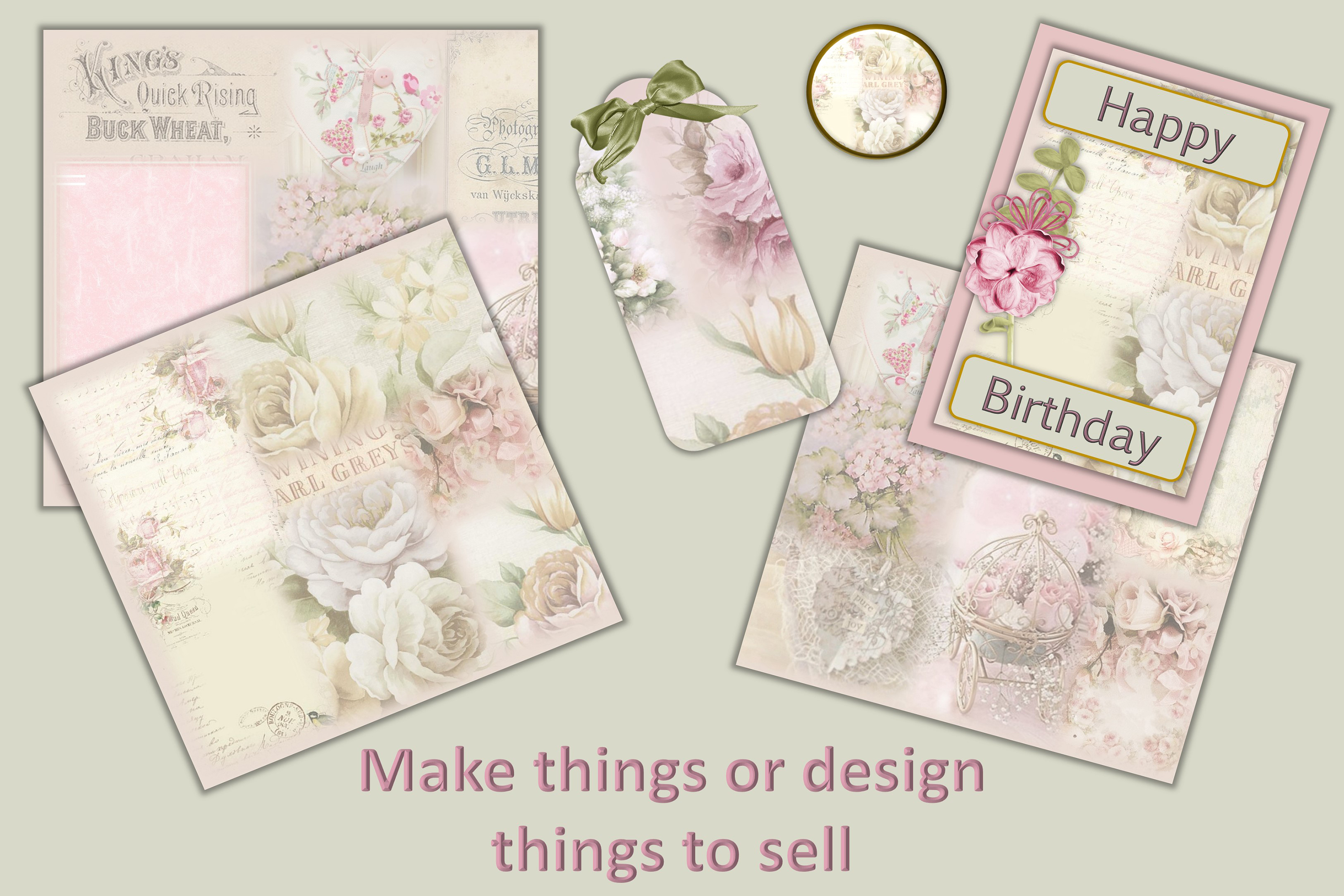 Vintage Shabby Chic Scrapbook Paper 12 x 12 example image 4