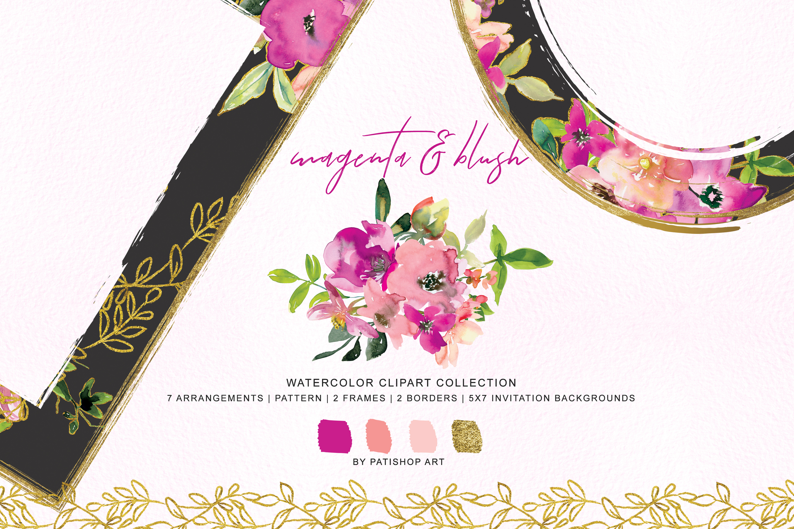 Watercolor Magenta and Blush Floral Bouquet Clipart example image 4