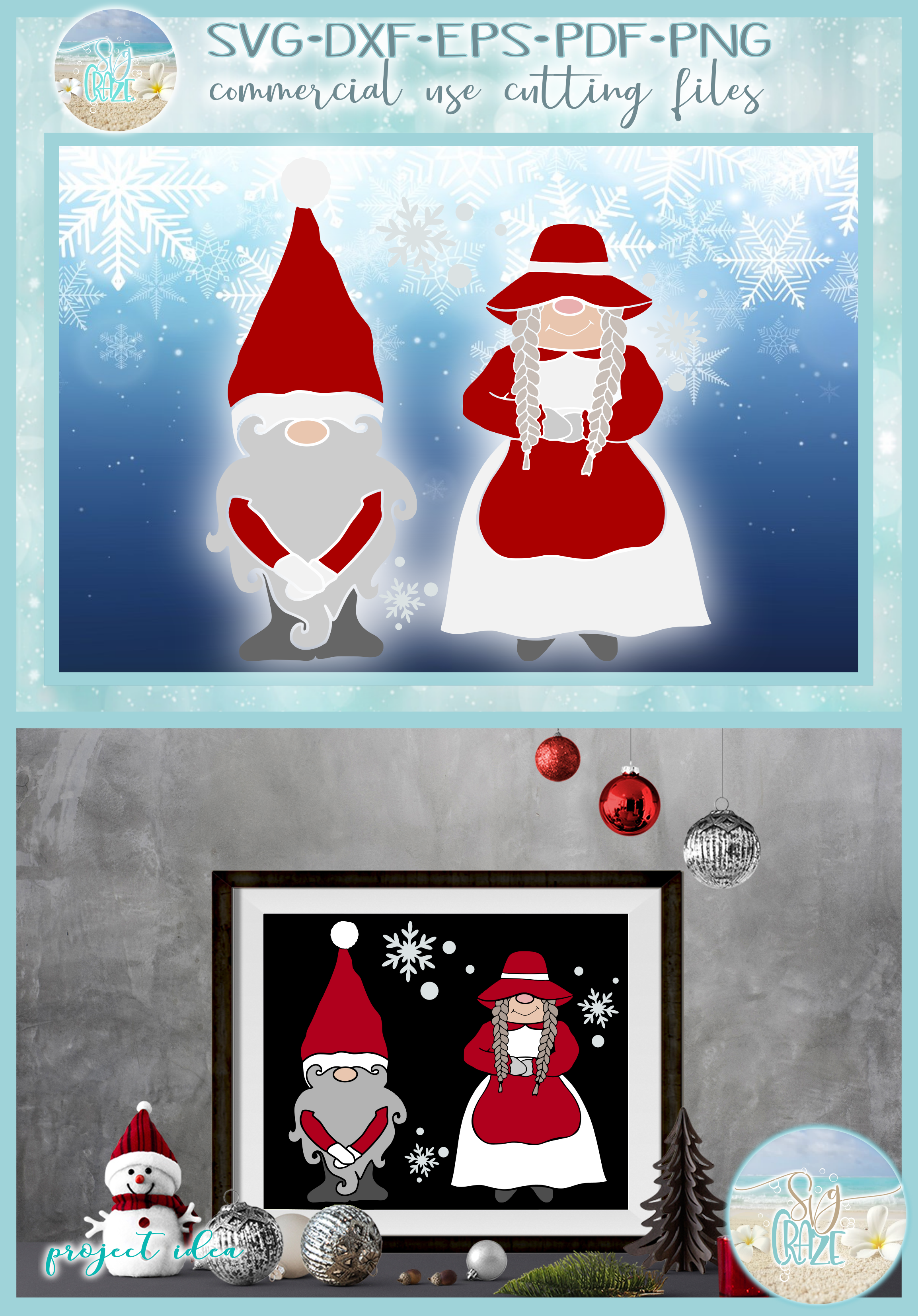Mr and Mrs Gnome SVG Dxf Eps Png PDF Files for Cricut example image 4