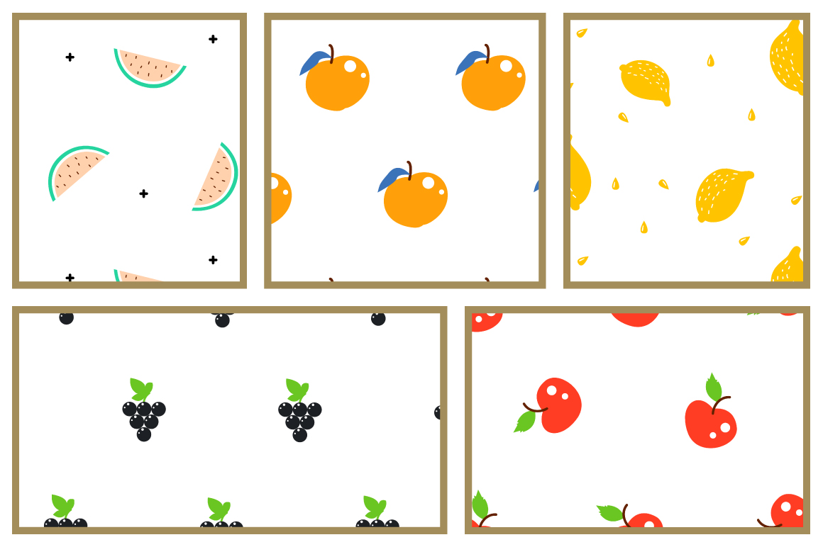 Fresh Fruits - Seamless Patterns example image 5