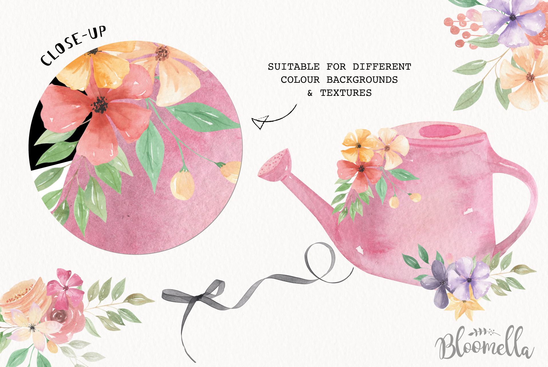 Watering Can Watercolor Floral Spring 12 Bouquets Spring example image 6