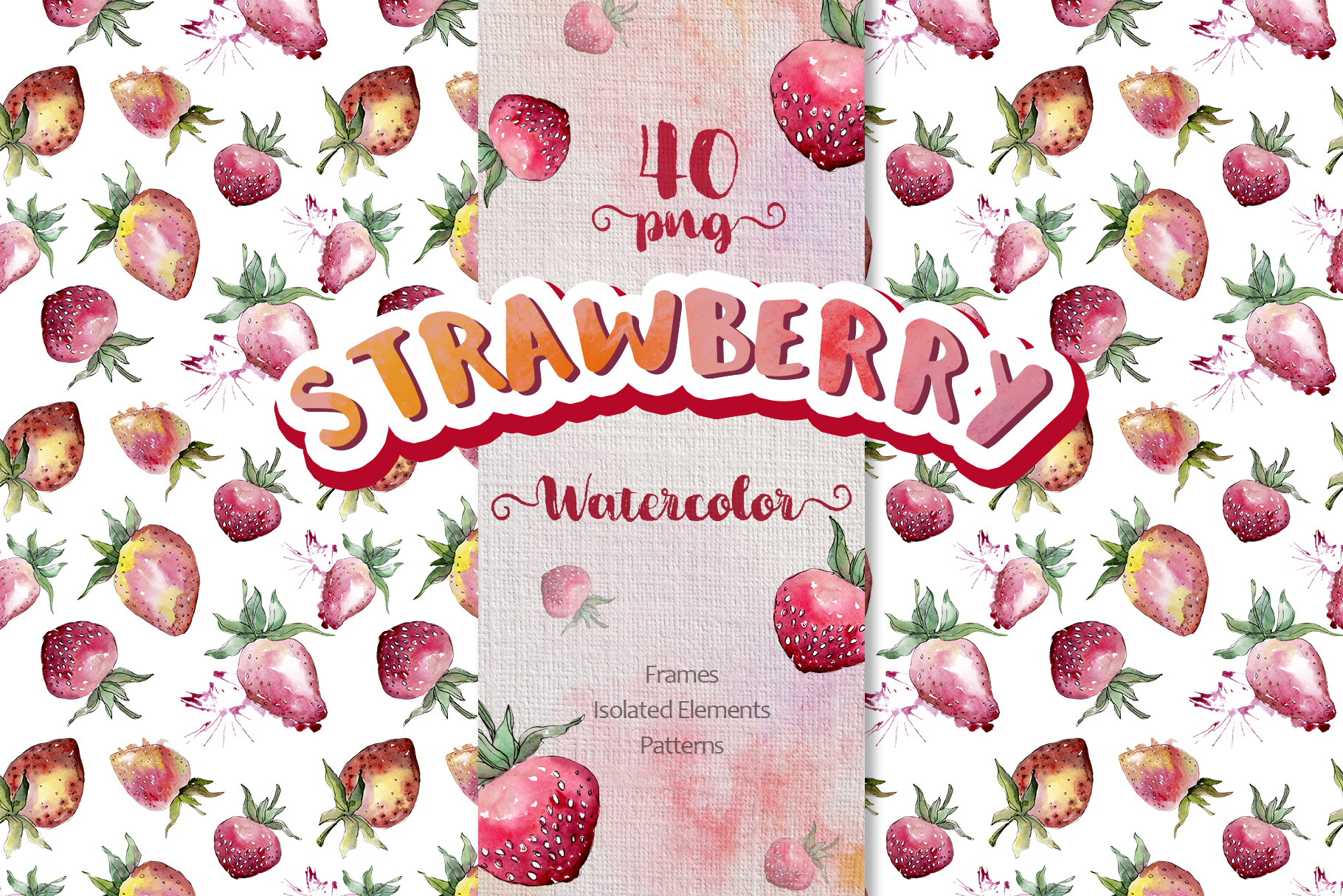Strawberry Watercolor png example image 1