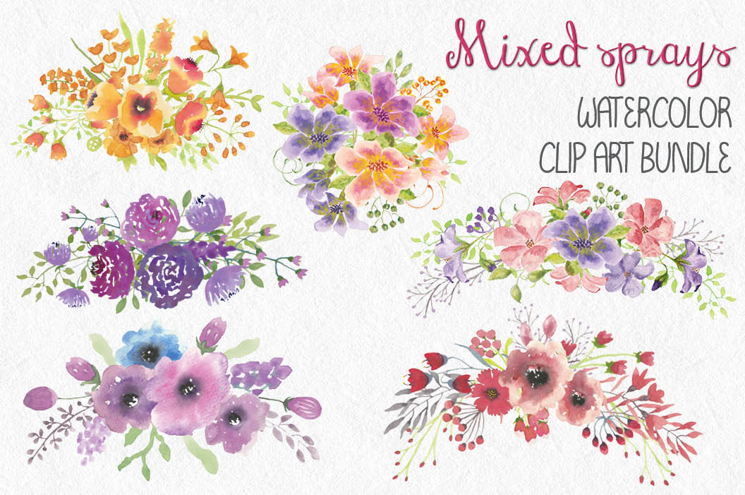 Set of mixed floral sprays: hand painted watercolors example image 1