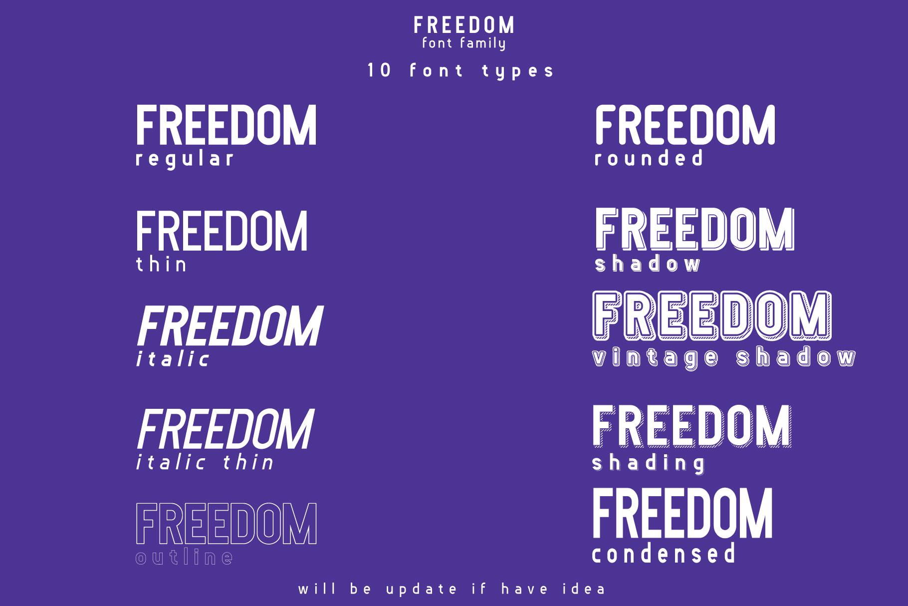 FREEDOM font family example image 2