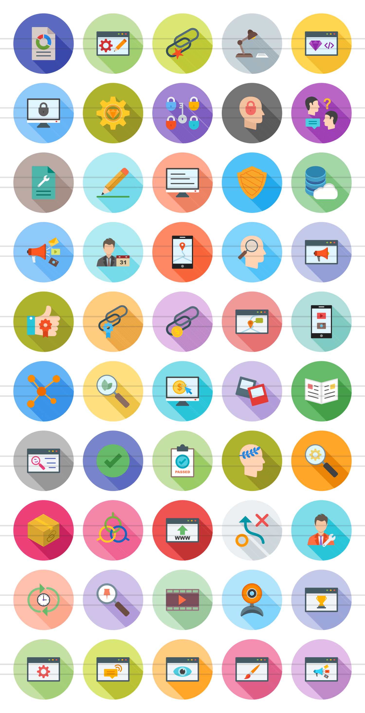 50 IT Services Flat Long Shadow Icons example image 2