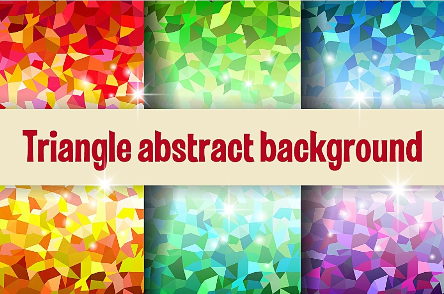 Multicolor triangular digital paper mosaic background example image 1