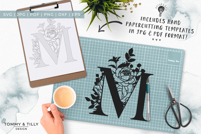 M Bouquet Letter Design - Paper Cut SVG EPS DXF PNG PDF JPG example image 6