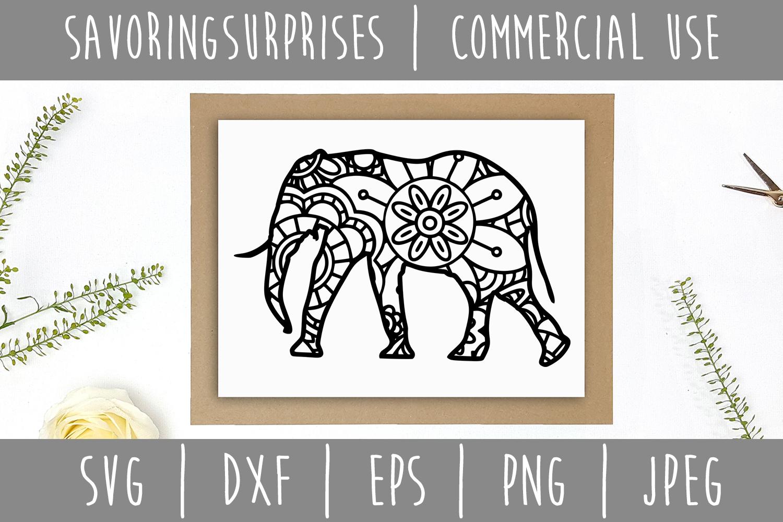 Elephant Mandala Zentangle SVG, DXF, EPS, PNG, JPEG example image 3
