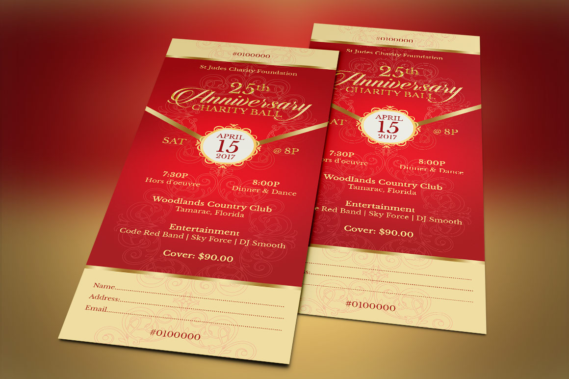 Red Gold Anniversary Gala Ticket Template example image 4