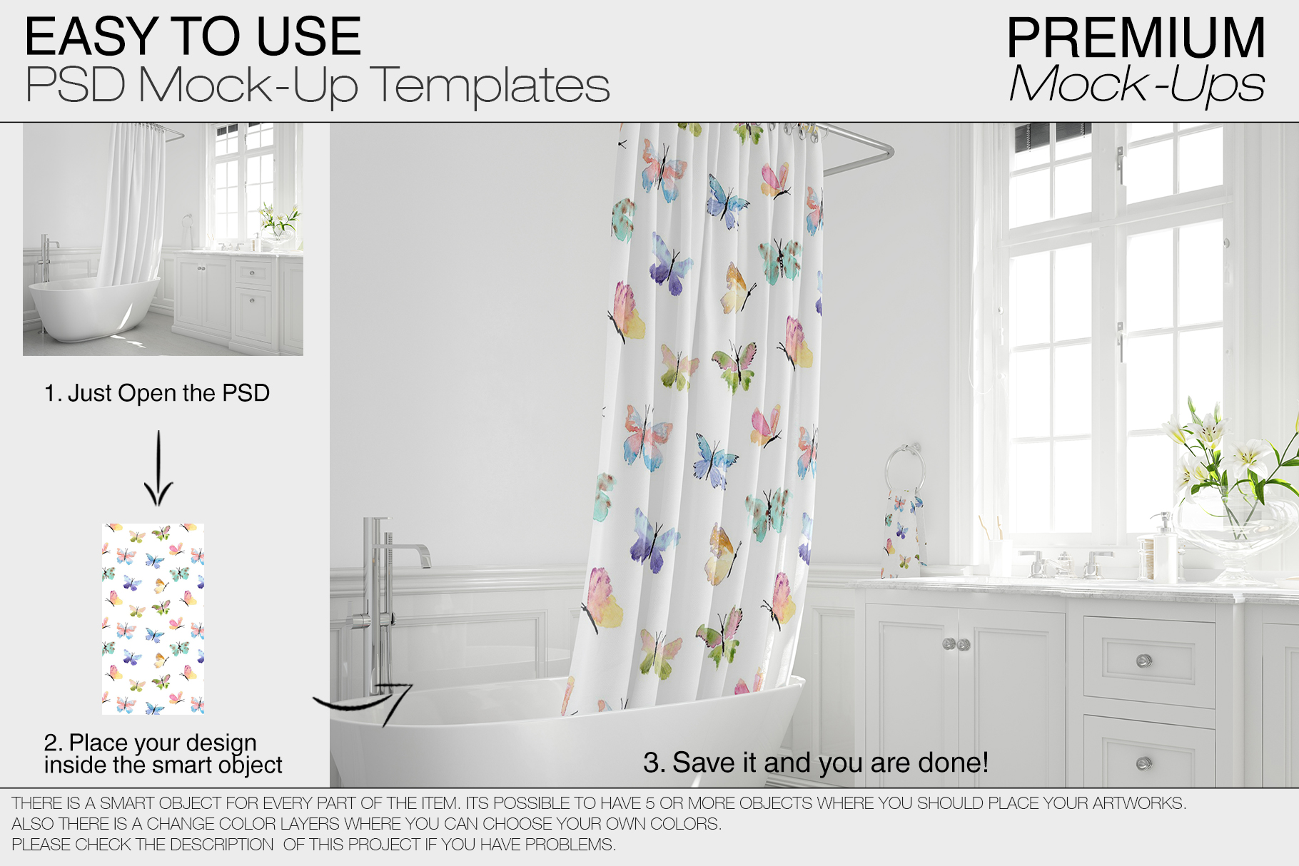 Bath Curtain Mockup Pack example image 15