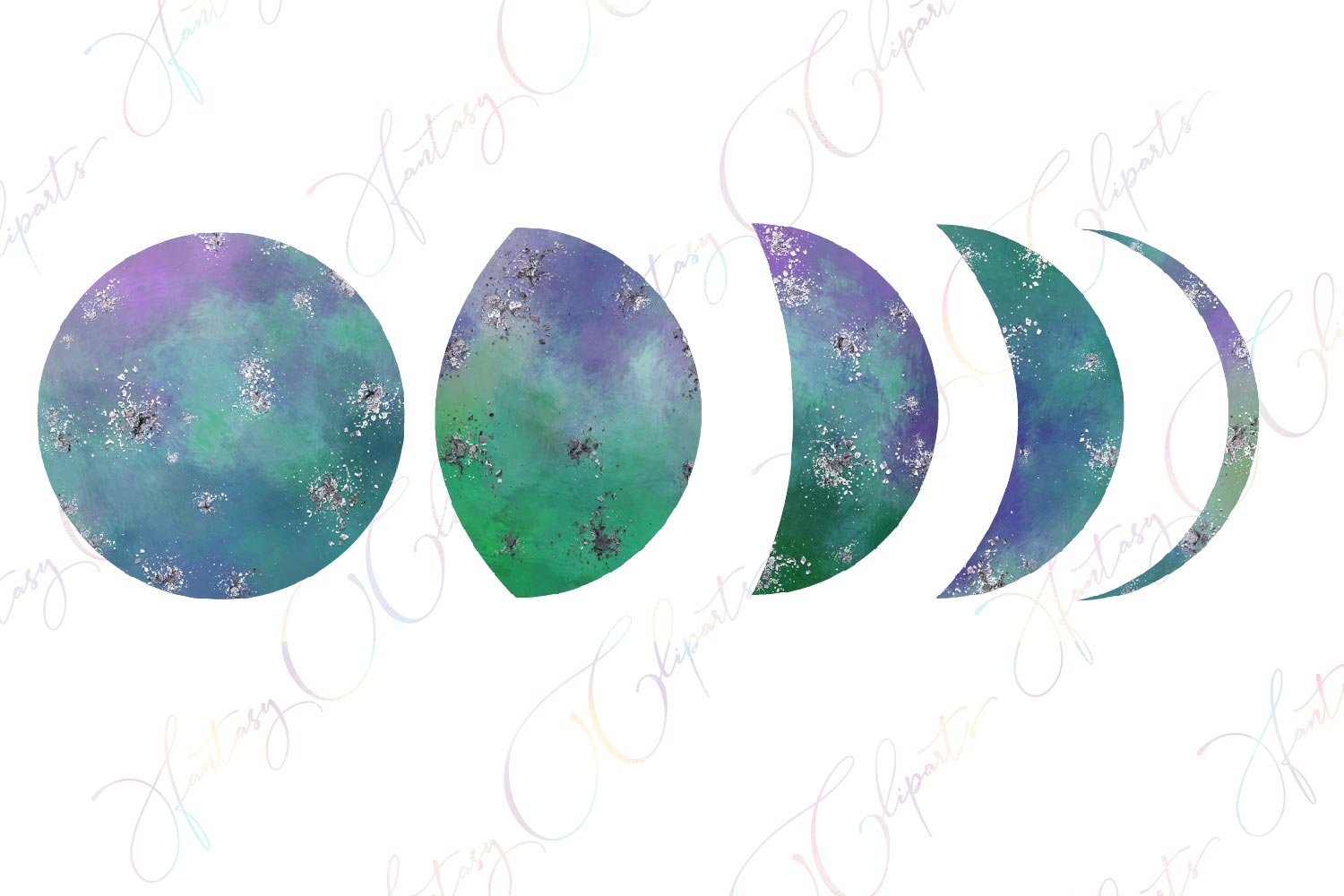 Galaxy Moon Phases Clipart example image 3