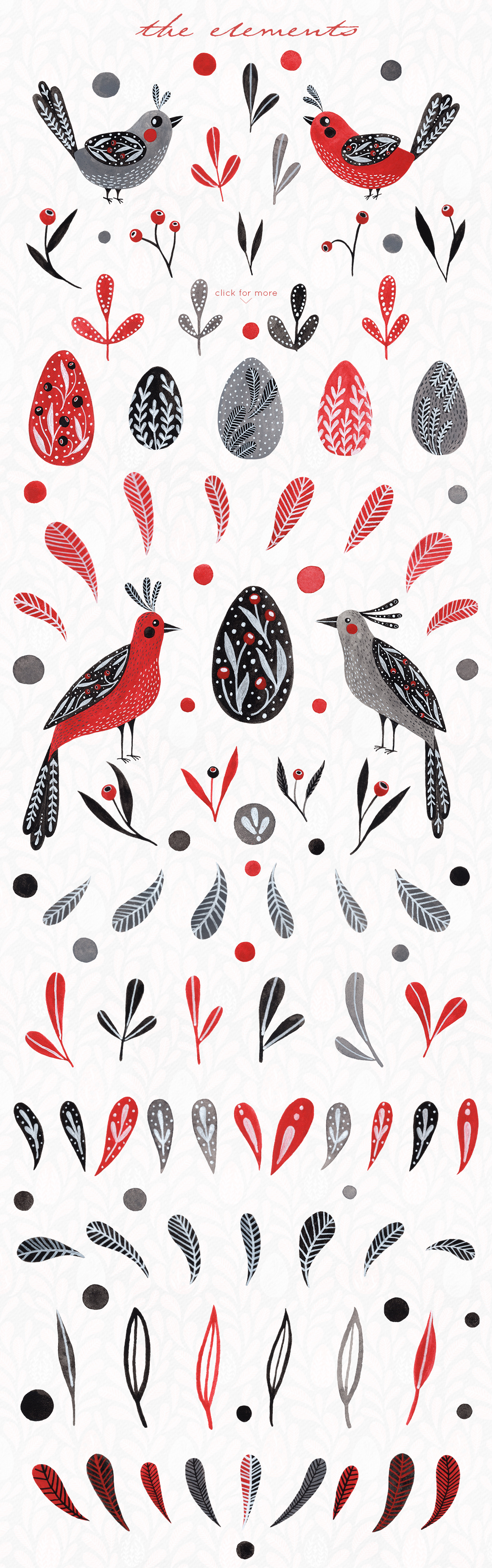 Lovebirds folk art bird illustrated collection example image 11