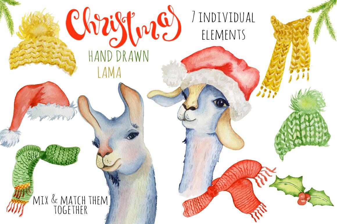 Christmas lama watercolor creator example image 2