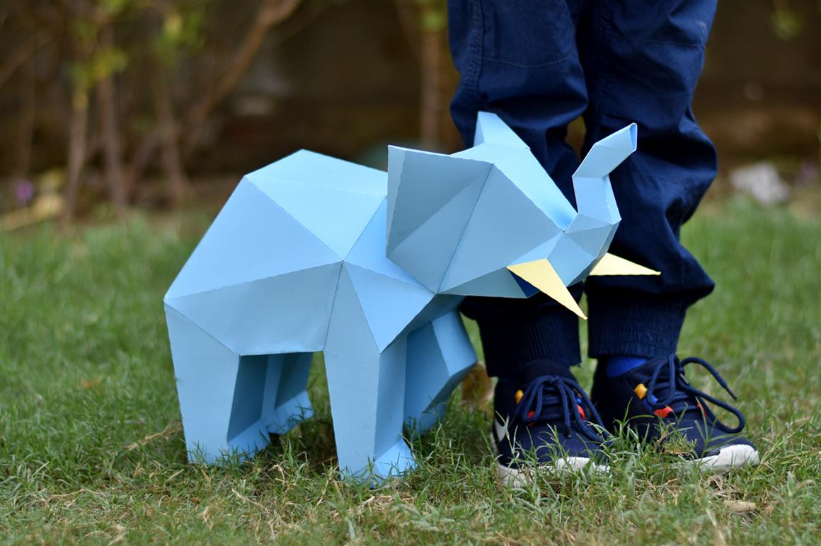DIY Elephant Sculpture - 3d papercraft example image 6