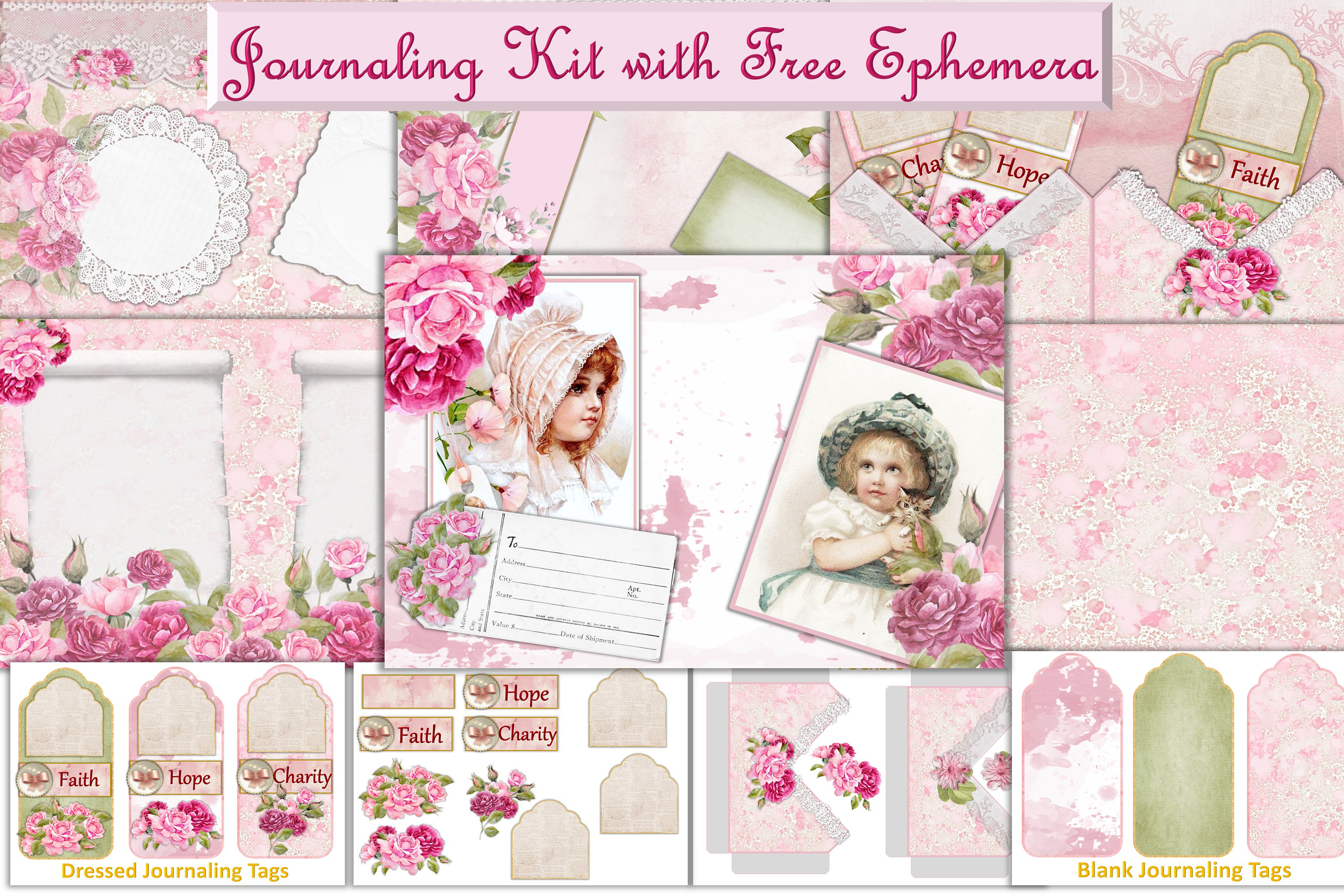 Printable Journaling Kit Romance and lace JPEG PDF PNG example image 1
