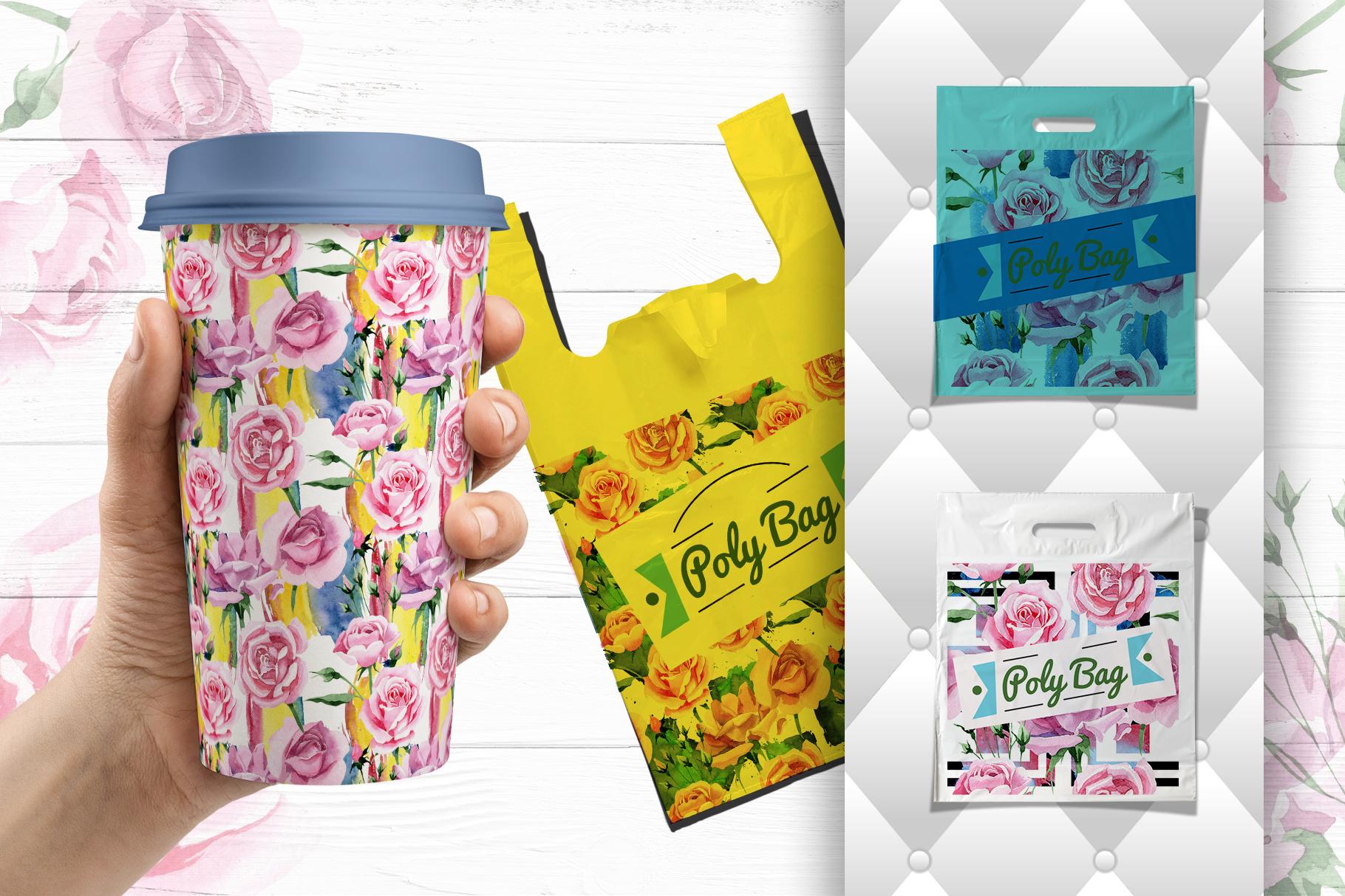 Tea-rose PNG watercolor set example image 3