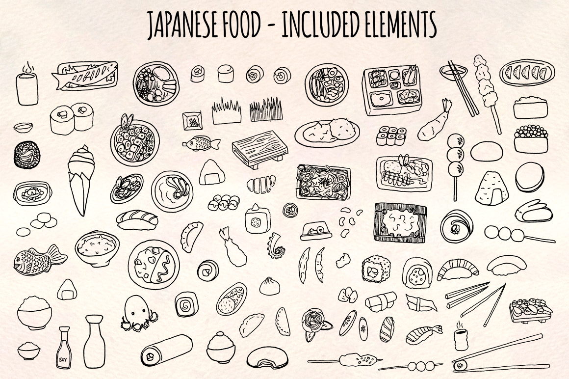 Japanese Food 93 Yummy Restaurant Sketch Graphics example image 2