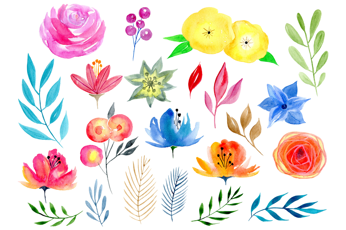 Watercolor floral big bundle, 97 png example image 4